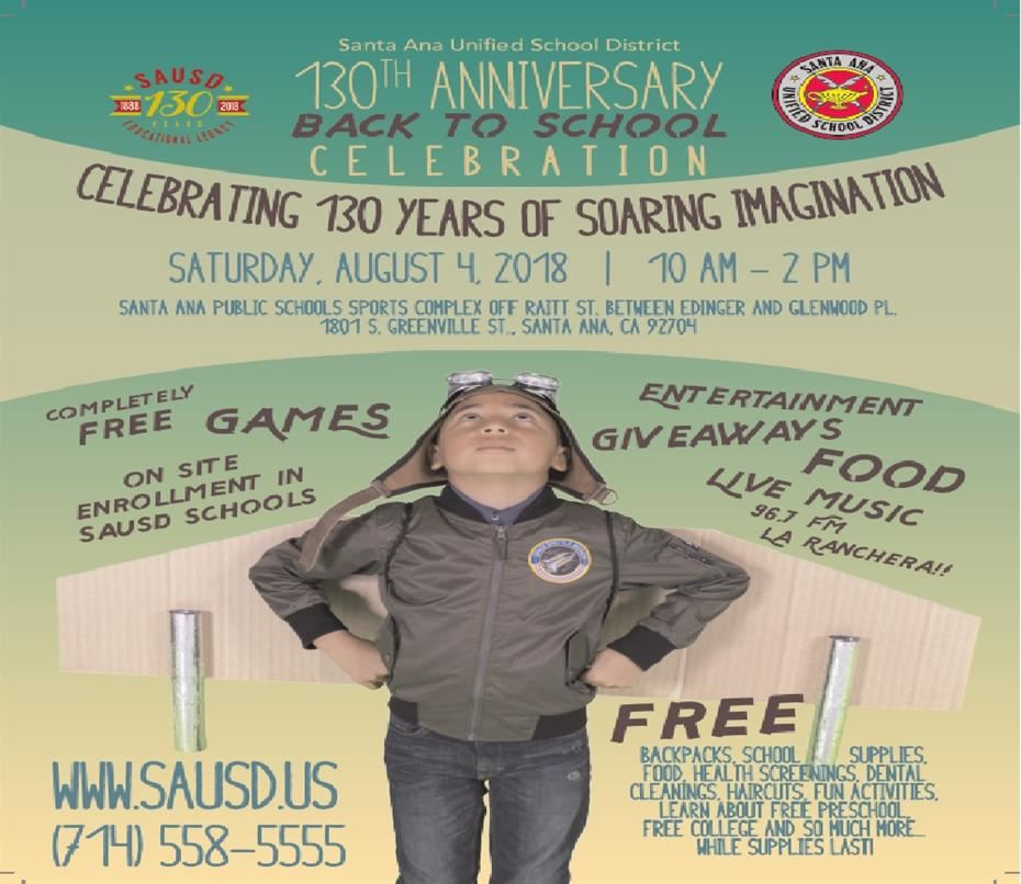 Back to School Celebration - Saturday, August 4, 2018